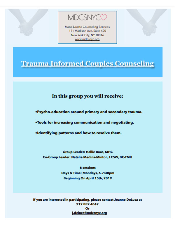 Trauma Informed Couples Counseling Group Flyer